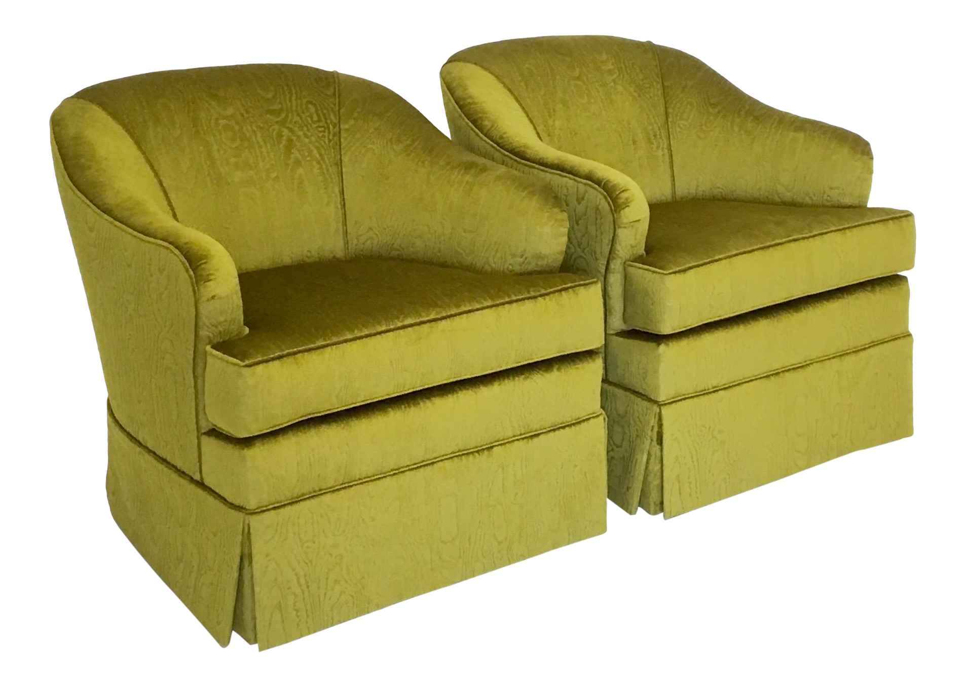 Mid Century Swivel Club Chairs In Chartreuse Moire Fabric
