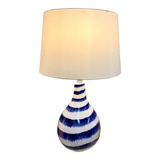 Blue & White Brush Strokes Lamp