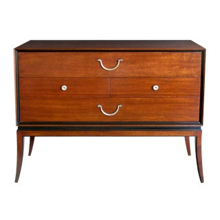 An extremely good quality Tommi Parzinger designed for Charak Modern mid-century mahogany 4-drawer cabinet/chest with ebonized highlights