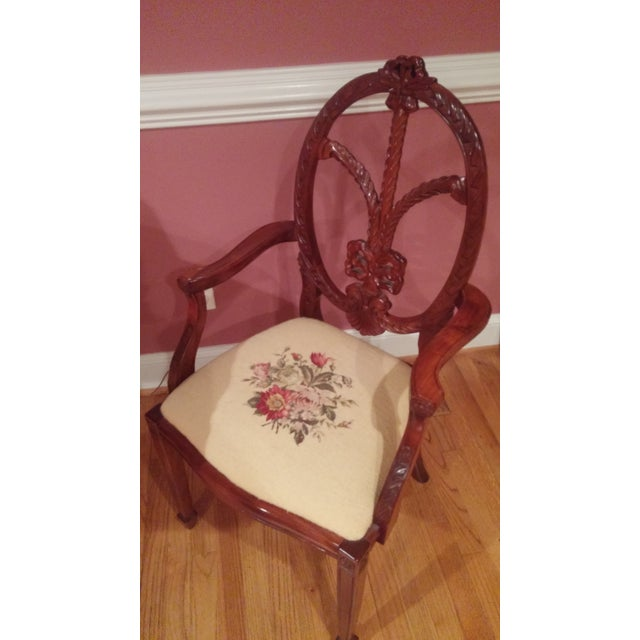 Image of Spiderback Chairs, Needlepoint Cushions - Pair