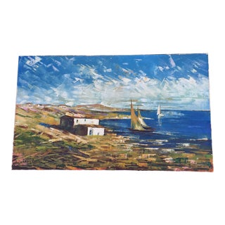 Sailboats on Coast Expressionist Oil Painting