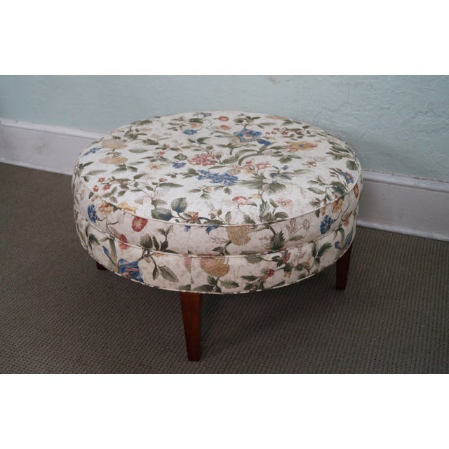 Floral Upholstered Round Ottoman - Image 9 of 10