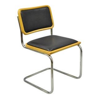 Italian Modern Cantilever Breuer Style Maple Cesca Navy Blue Vinyl Dining Chair
