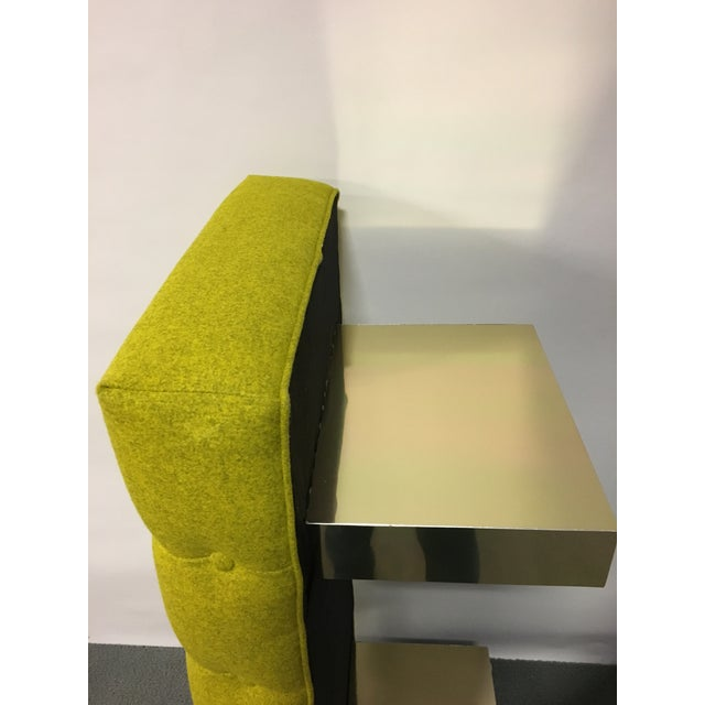 Mid-Century Modern Bright Yellow Tufted Bench on Brass Base - Image 10 of 11