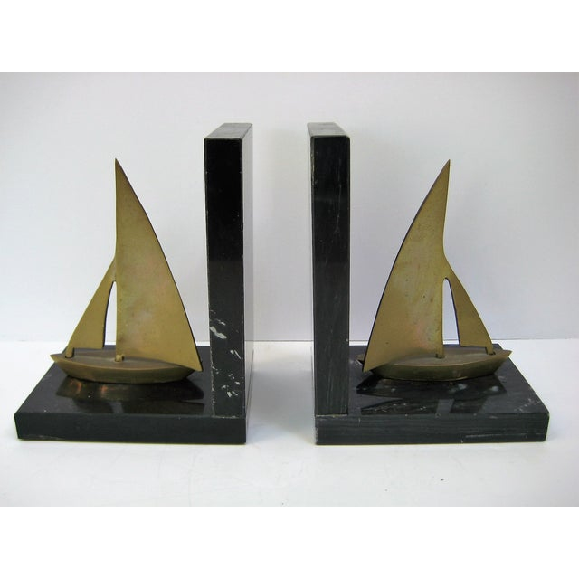 Mid-Century Brass Sailboat Bookends - Pair - Image 2 of 9