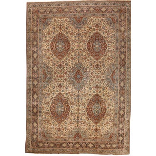 Exceptional Antique Oversize Persian Dabir Kashan Carpet