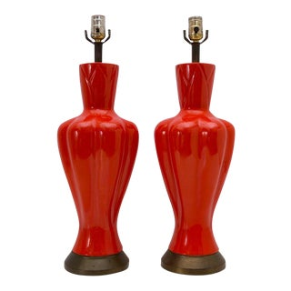Mid-Century Chinoiserie Orange Table Lamps - A Pair