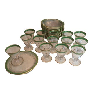 1920s Vintage Glass Canape Servers - Set of 14