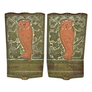 1925 Judd Art Nouveau Style Iron Owl Bookends - A Pair
