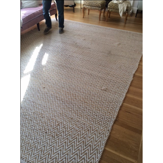 Chevron Rug in Beige and White - 9′ × 12′ - Image 9 of 9