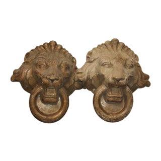 Composite Lion Heads - A Pair