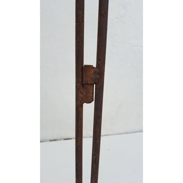 Vintage Metal & Carved Wood Panels Room Divider Screen - Image 9 of 9