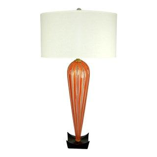 Monumental Striped Murano Lamp in Orange