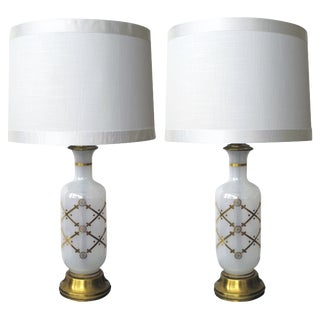 A Pair of American White Opaque Gilt Glass Bottle-Form Lamps