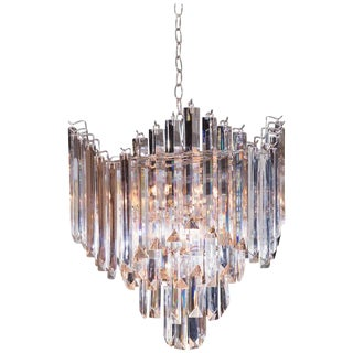 Beautiful Mid-Century Lucite Chandelier with Nickel-Plated Frame