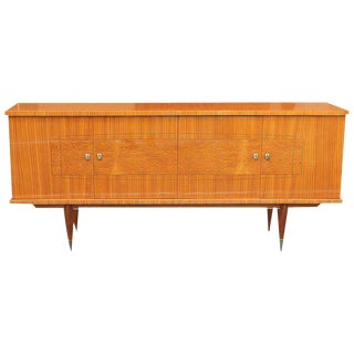 Circa 1940s Long French Art Deco Flame Mahogany Sideboard