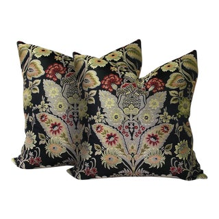Chinoiserie Floral Brocade Pillows - A Pair