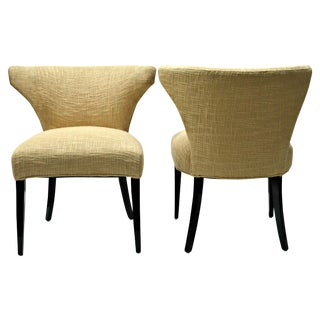 Vintage 1950s Gold Barrel-Back Chairs - A Pair