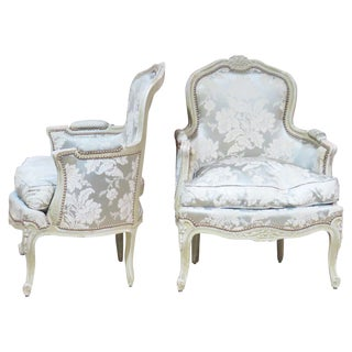 Pair Louis XVI Style Carved Painted Bergeres