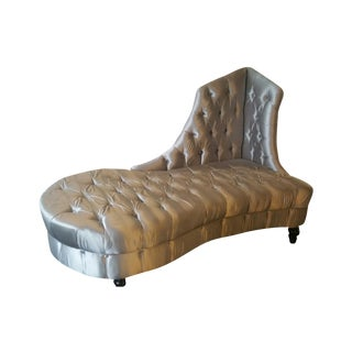 Silver Tufted Chaise Lounge