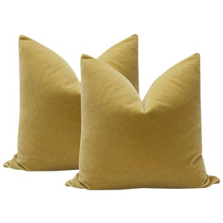 "22"" Camel Mohair Velvet Pillows - A Pair"