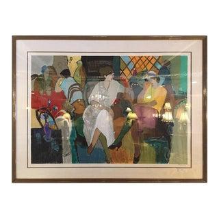 """Itzchak Tarkay Sillkscreen Print """"Cafe De Paris"""" Signed and Numbered"""