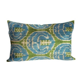 Blue And Green Silk And Velvet Ikat Pillow