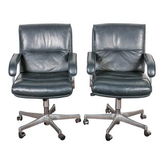 Blue Leather & Chrome Grahl Office Chairs - A Pair