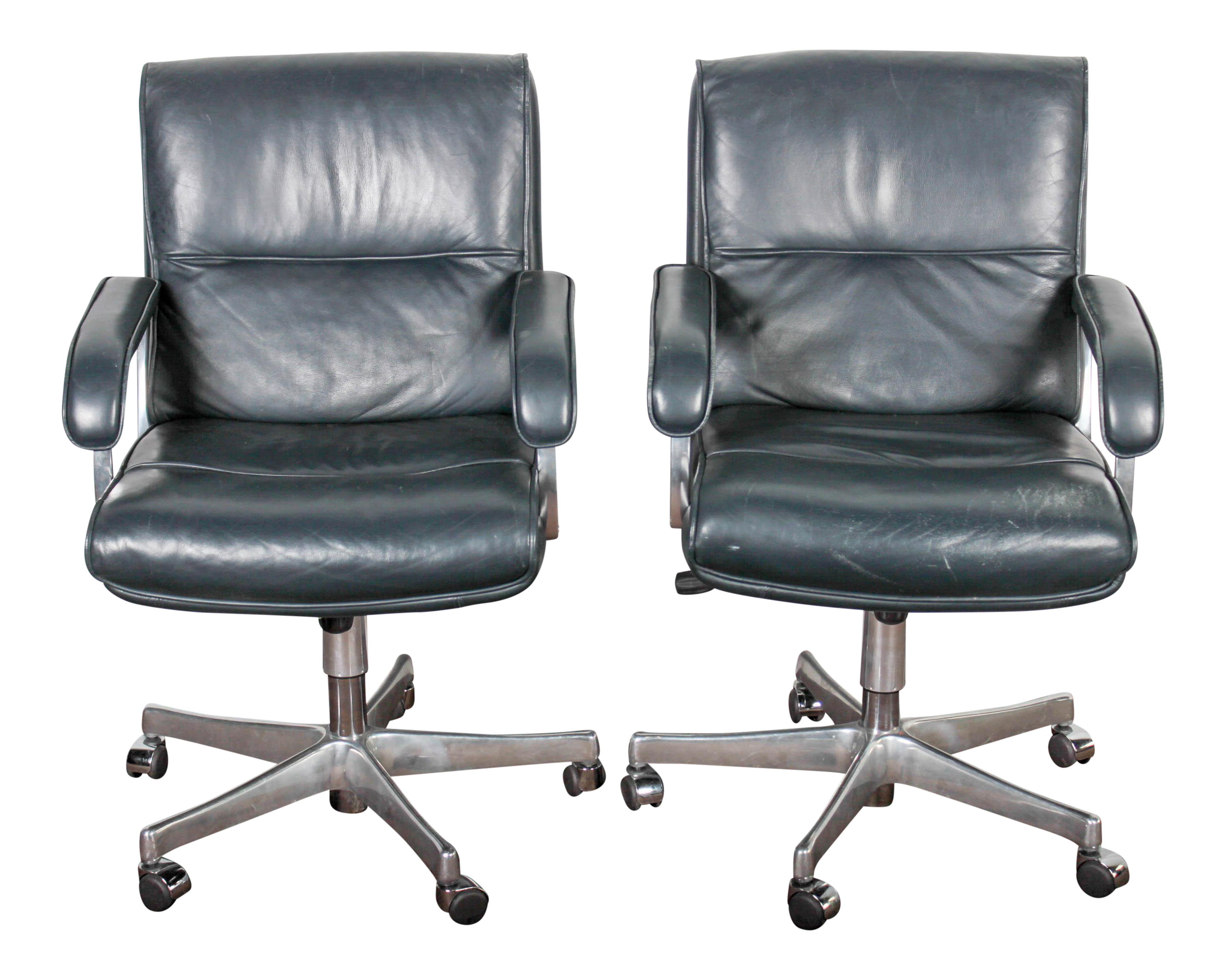 blue leather u0026 chrome grahl office chairs a pair - Leather Office Chairs