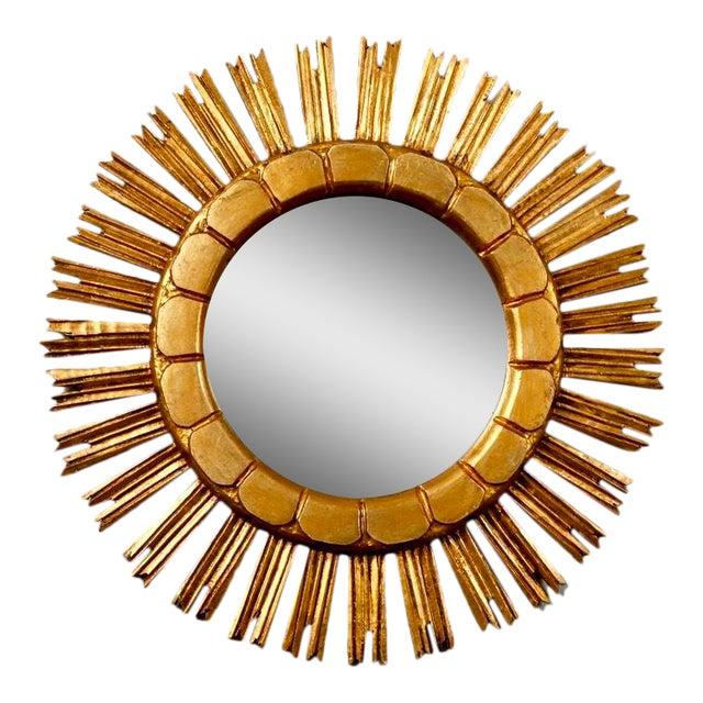 Mid-Century Medium Size Giltwood Sunburst Mirror - Image 1 of 7