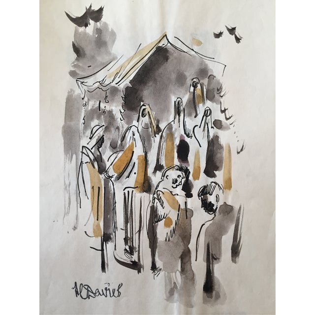 H. Davies Mid Century Modernist Watercolor Drawing - Image 1 of 4