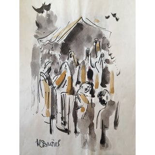 H. Davies Mid Century Modernist Watercolor Drawing