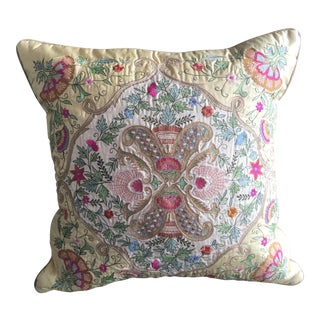 Silk Embroidered Accent Pillow