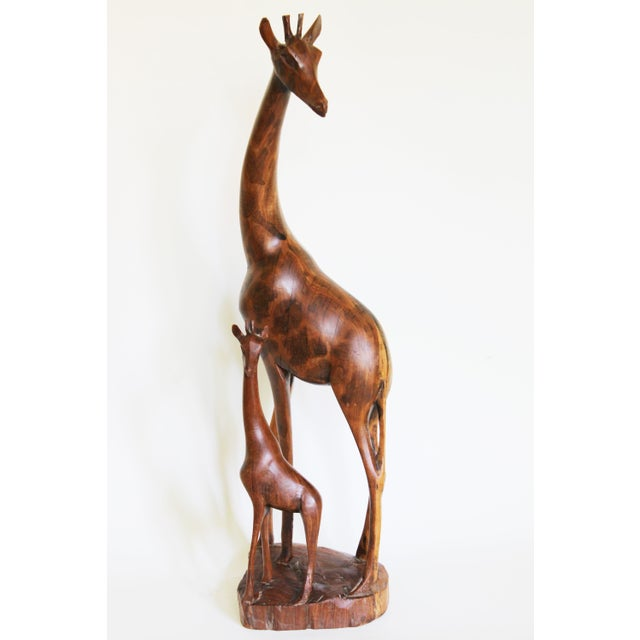 African Mother and Child Giraffe Carving - Image 2 of 6