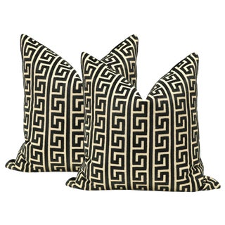 Greek Key Cut Velvet Noir Pillows - A Pair