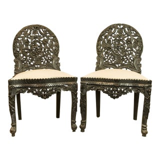 Circa 1870 Indian Hand Carved Ebonized Chairs - A Pair