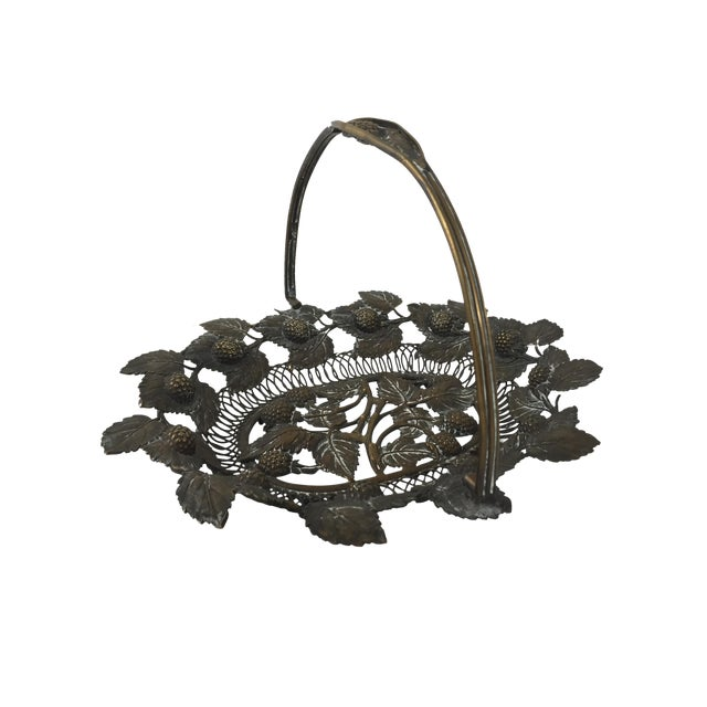 Detailed Copper Basket with Aged Patina - Image 1 of 4