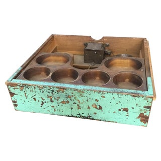 Wooden Cash Drawer With Aqua Paint & Bell