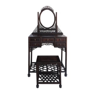 Chinese Carving Stool Mirror Table Dresser Set