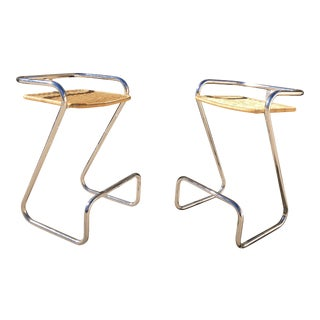 Vintage Italian Chrome and Wicker Bar Stools, Mariani - A Pair