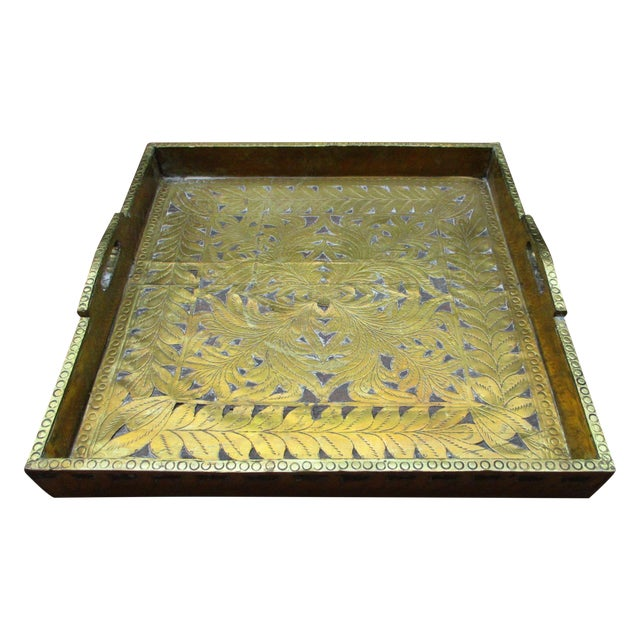 Antique Ornate Hammered Brass Wood Serving Tray - Image 1 of 11