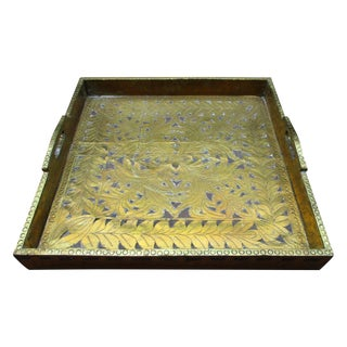 Antique Ornate Hammered Brass Wood Serving Tray
