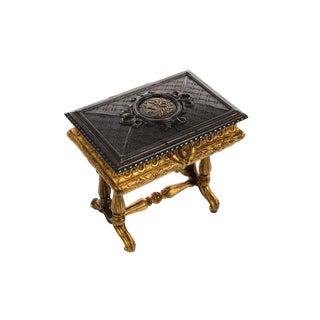 19th century Antique Gilt Bronze Jewelry Box- Miniature Sawing Box