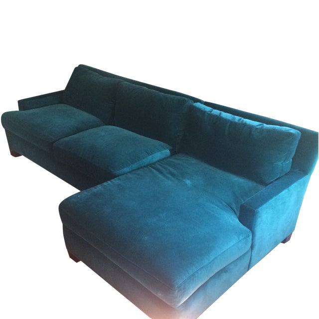 Teal Sofa with Chaise from Quatrine - Image 1 of 7