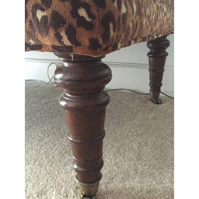 Image of Leopard Upholstered Bench on Brass Casters