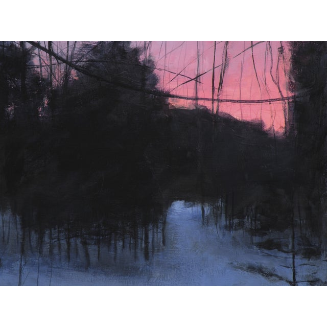 Painting of Winter Sunrise on a Path in the Woods - Image 3 of 4