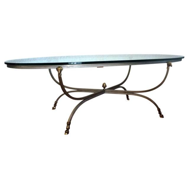 Maison Jansen Brass Ram's Head Oval Coffee Table - Image 1 of 9