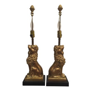 Mid-Century Lion Table Lamps- A Pair