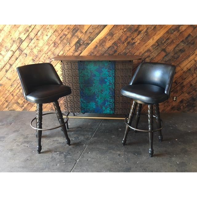 Mid Century Free Standing Bar with 2 Vinyl Stools - Image 2 of 11