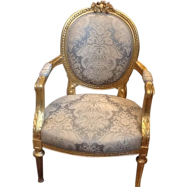 Gold Leaf Neoclassical Chairs - A Pair - Image 1 of 5